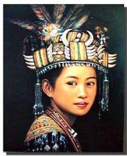 Oriental Beautiful Woman in Headdress Fine Geisha Wall Decor Art Print (16x20)