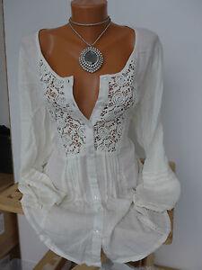 Heine Linea Tesini  Shirt Bluse Gr. 36 Creme Ton mit Spitze (214) NEU
