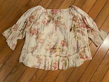 ralph lauren denim supply womens floral ruffle shirt blouse medium multicolor