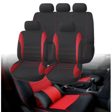 11pc Black & Red Car Seat Covers Protector Universal Washable Pet Full Set Front