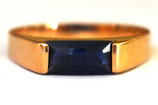 14K Solid Gold and Natural Sapphire Ring Size  5 1/4