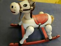 Vintage Enesco Wooden Musical Toy Rocking Horse