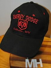 """""""ENERGY DODGE"""" GILLETTE WY HAT. BLACK WITH RED EMBROIDERED GRAPHICS AND LETTERS."""