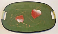 Vintage 1960s GREEN MID CENTURY Serving Platter Tray Handed Painted Design
