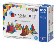 Magna Tiles 100pc Clear Color 3D Magnetic Building Tiles Set for Kids