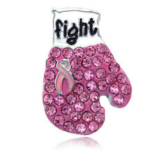Support Breast Cancer Awareness Pink Ribbon Small Boxing Glove Brooch Pin p10s