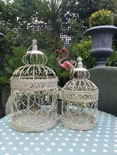 A Pair Of French Birdcage Planters Basket Pot holder Candle Holder Shabby Chic