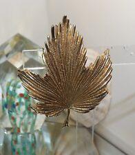 Vintage Signed Hobé Goldtone Deep Ruffle Textured Leaf Brooch