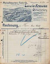 SCHWARZENBERG Sa., Rechnung 1907, Metallwaren-Fabrik Louis Krauss