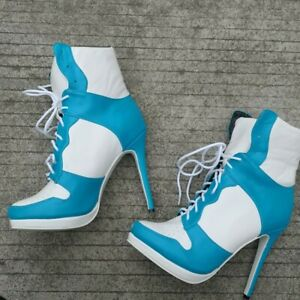 Women's Pointy Toe High Top Sneaker Lace Up Stilettos Heel Ankle Boots Shoes Hot