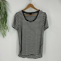 Ann Taylor Top Women Size Medium Black White Short Sleeve Stripe T-Shirt Knit