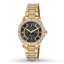 CITIZEN WOMEN'S $295 ECO-DRIVE ROSE GOLD WATCH, DATE/24 HOUR/CRYSTALS FD3003-58E