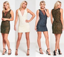 V-Neck Sleeveless Beaded Dresses for Women