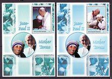 Afghanistan, 2001 Cinderella issue. Pope John Paul Ii & Mother Teresa s/sheets.