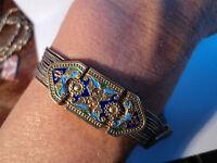 """2-Tone Sterling Silver Turkish Foxtail Slide Bracelet 7"""" Unique Clasp"""