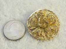 Vintage Round Gold Filigree Ruffle Dress/Scarf Clip  Signed W.Germany