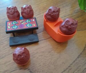 Vintage Monkey Weebles And Picnic Bench