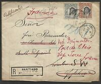 CHILE to GREAT BRITAIN resent to FRANCE 1908 registered fantastic cover