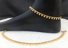 ANKLET BRACELET 22k GOLD PLATED PAYAL SET BOLLYWOOD Fashion INDIAN JEWELRY aa13