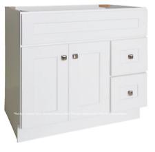 "White Shaker Bathroom Vanity Base Cabinet 36"" Wide x 21"" Deep New"