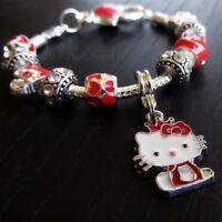 Red Hello Kitty Princess European Charm Bracelet With Ruby Red Rhinestone Beads