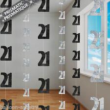 6 BLACK GLITZ 21st Birthday 5ft String Decorations