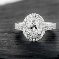 Certified 3.30Ct White Oval Cut Diamond Engagement Ring in Solid 14K White Gold