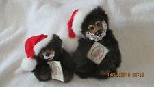 Signed Kimbearly's Originals Resin Faced Teddy Bears Nicholas & Mini Mr. Santa