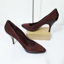 Banana Republic Brown Suede Leather Moc Croc High Heels Pumps Women's 9 Pointed