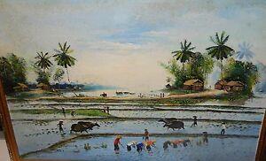 "VIETNAM ""MIA CAY"" RICE FIELD ORIGINAL OIL ON CANVAS LANDSCAPE PAINTING"