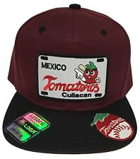 TOMATEROS DE CULIACAN HAT MAROON BLACK  WITH 2 LOGOS  SNAP BACK FLAT BUILD