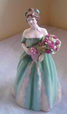 "Fine Royal Doulton ""Happy Birthday"" Floral Green Dress Lady Statue Figurine 8"""