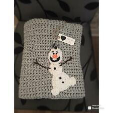 Hand crochet baby/toddler Frozen Olaf inspired blanket/carseat/pram, snowman