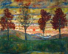 Egon Schiele Four Trees Canvas Art Print Modernism Modern Art Decor Small 8x10