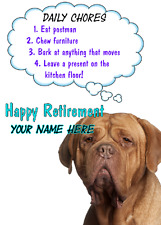 Dogue de Bordeaux Dog Happy Retirement Rules card A5 Personalised Greetings