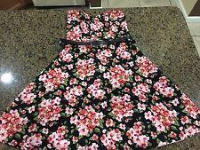 Ladies DGNY Small Black Floral Strapless Dress With Black Belt