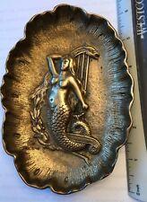 Vintage Mermaid Woman Dish Tray Ashtray Metal Art DecoUnique