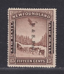 Newfoundland Canada Scott 211 F/VF MH 1933 15¢ Airmail Overprinted for Postage