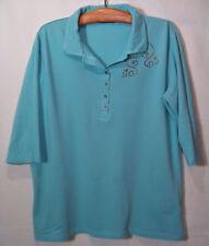 Gr.XL DENIM&CO Poloshirt Pikeeshirt Nieten-Shirts Damenshirt Pikee-Hemd Polohemd