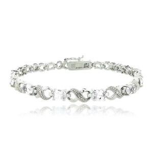 6.6ct White Topaz & Diamond Accent Infinity Bracelet in Brass