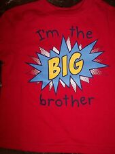 """New Boys """"I'M the BIG BROTHER"""" Long Sleeve Red Shirt Toddler Infant Falls Creek"""