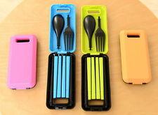 Portable Folding Spoon Fork Chopsticks Cutlery Tableware Dinnerware  Travel Set