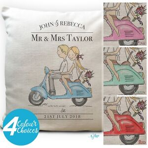 Personalised Wedding Scooter Bike Moped Cushion Cover Anniversary Gift 40cm