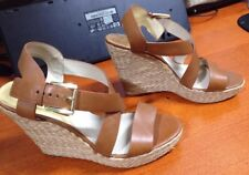 MICHAEL KORS CELIA BROWN LEATHER STRAP WEDGE SHOES SIZE 10