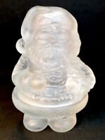 Mosser Art Glass Crystal Satin Santa Two Piece Candle Light Discontinued Item
