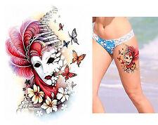Temporäres Tattoo Maske Blumen Schmetterlinge Wasserfest Butterfly Face Gesicht