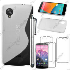 Housse Etui Coque Silicone S-line Transparent LG Nexus 5 E980 + Stylet + 3 Films
