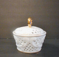 """Rare Porcelain Treasures Vanity Container w/ Lid Rare White Gold 6"""" Vintage"""
