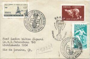 BRAZIL 1958-66 FOOTBALL SOCCER WORLD CUP CHAMPIONSHIP on REGISTERED Letter