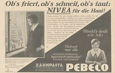 Y4871 Zahnpasta PEBECO - NIVEA Creme - Pubblicità d'epoca - 1927 Old advertising